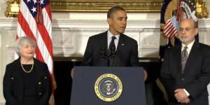 J. Yellen, B. Obama y B. Bernanke